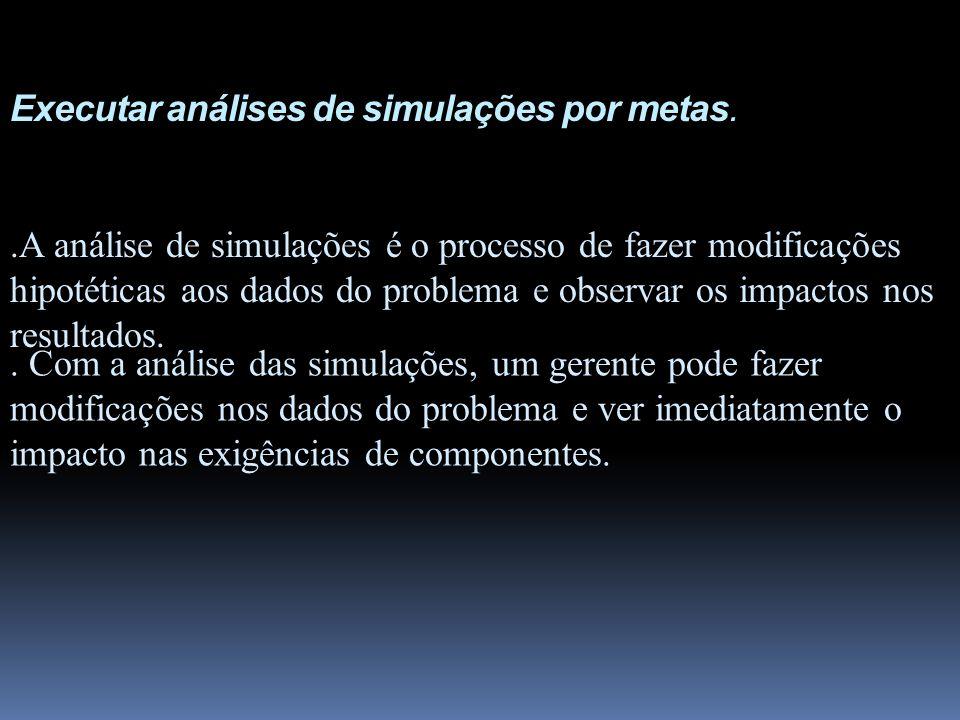 Executar análises de simulações por metas.