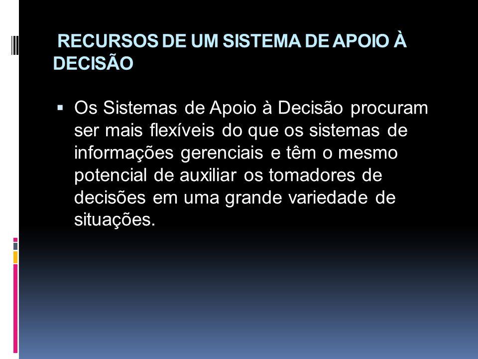 RECURSOS DE UM SISTEMA DE APOIO À DECISÃO
