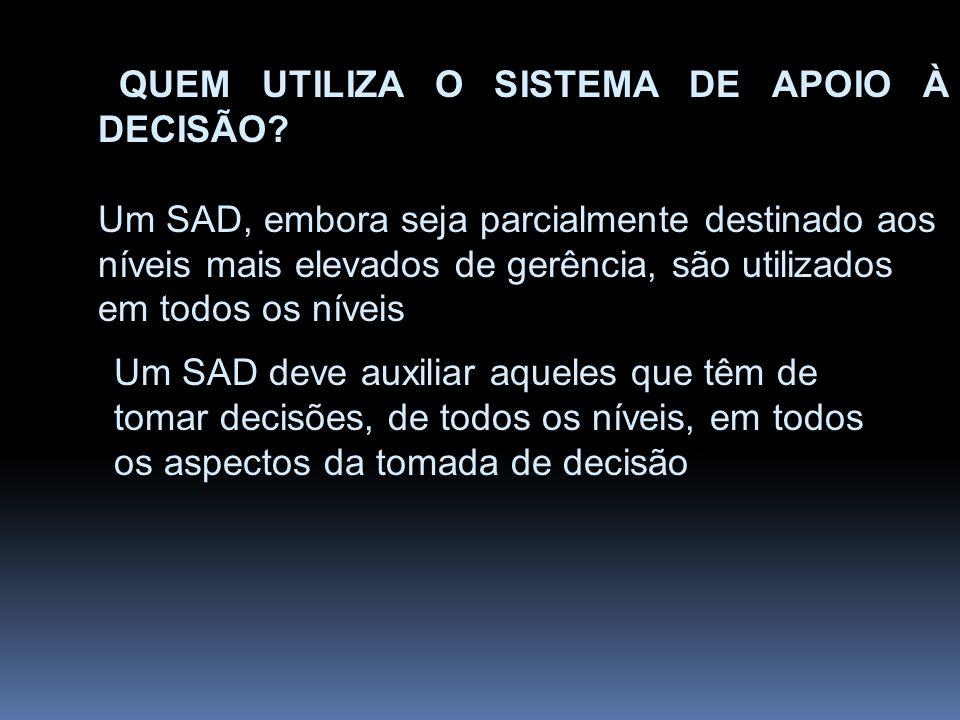 QUEM UTILIZA O SISTEMA DE APOIO À DECISÃO