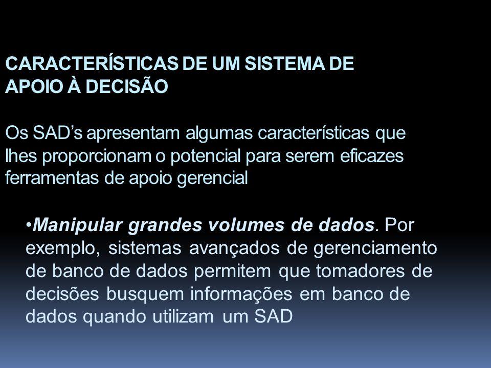 CARACTERÍSTICAS DE UM SISTEMA DE APOIO À DECISÃO Os SAD's apresentam algumas características que lhes proporcionam o potencial para serem eficazes ferramentas de apoio gerencial