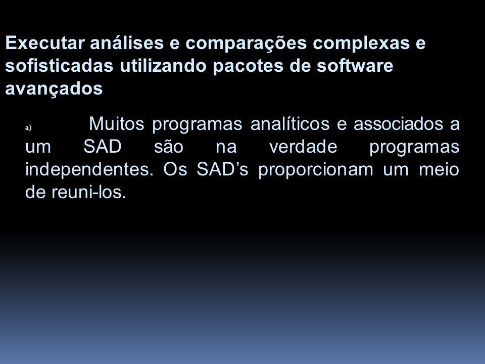Executar análises e comparações complexas e sofisticadas utilizando pacotes de software avançados