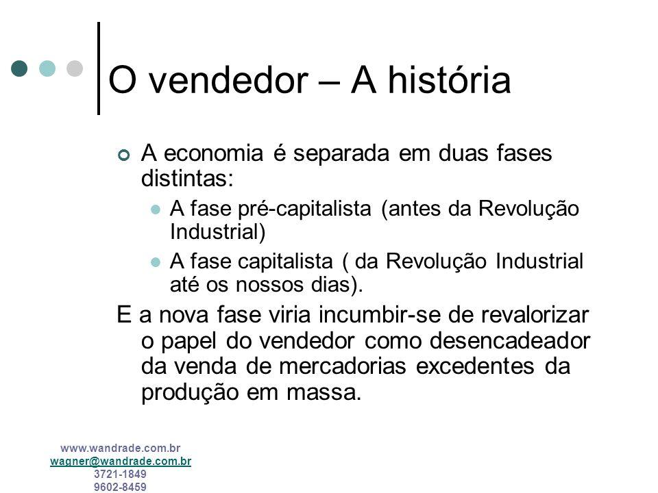 O vendedor – A história A economia é separada em duas fases distintas: