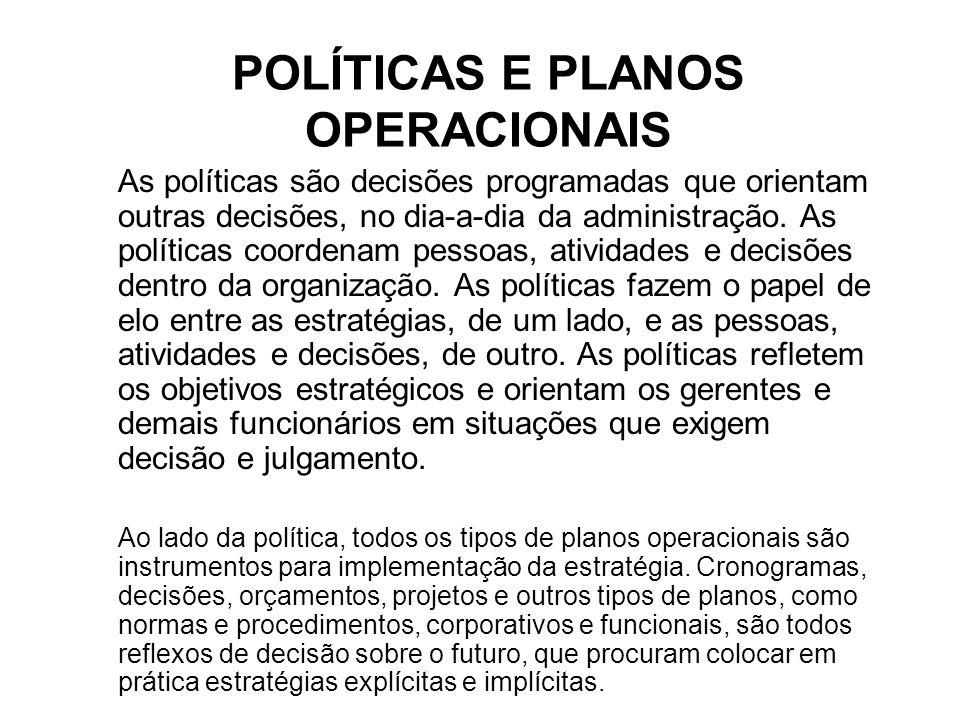 POLÍTICAS E PLANOS OPERACIONAIS