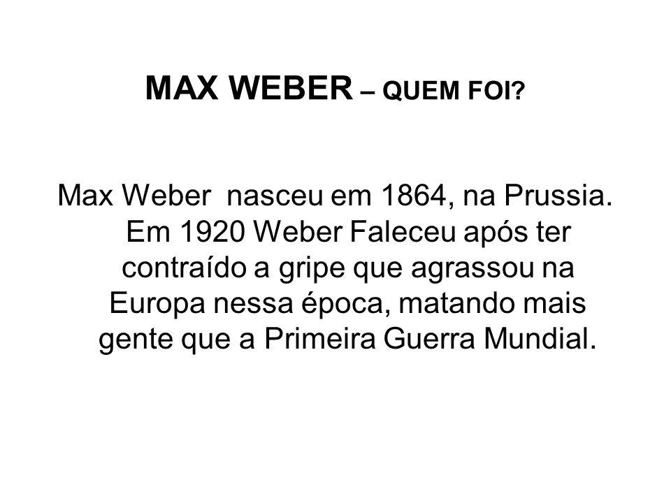 MAX WEBER – QUEM FOI
