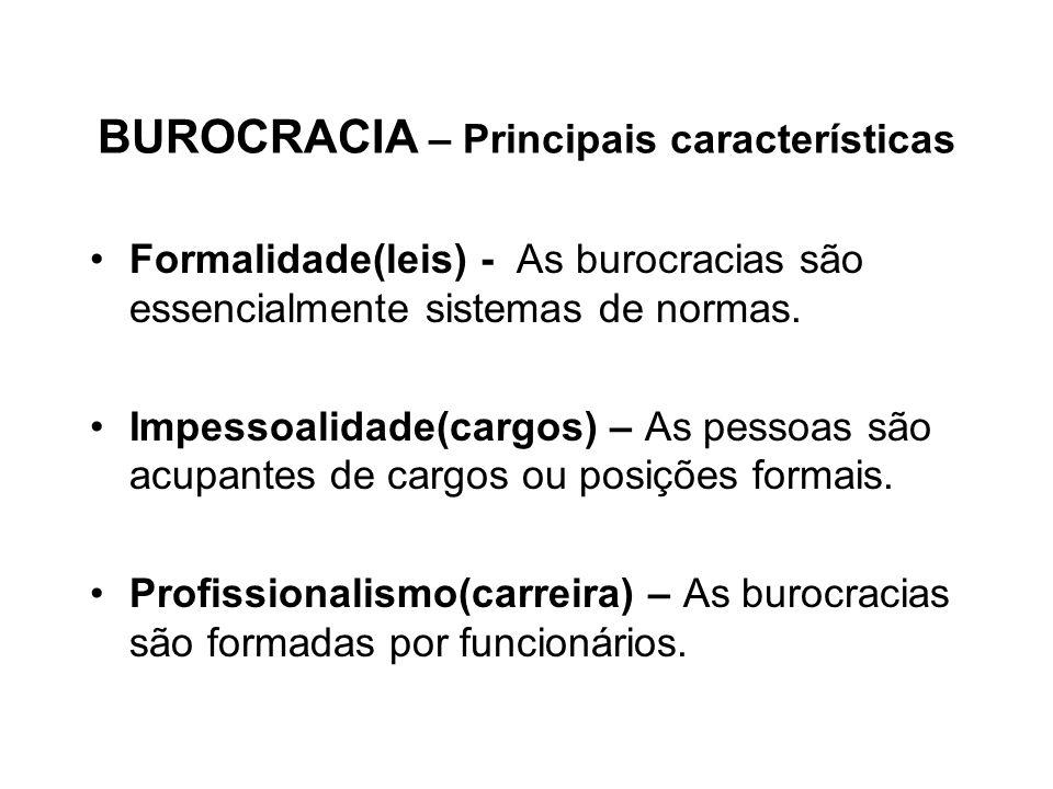 BUROCRACIA – Principais características