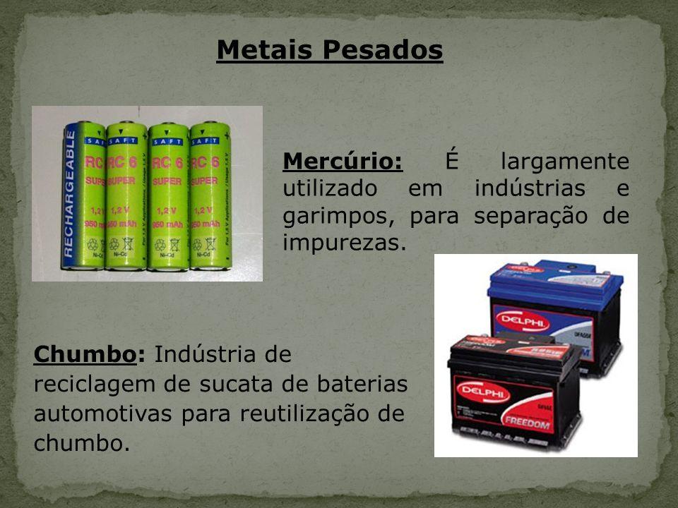 Metais Pesados Mercúrio: É largamente utilizado em indústrias e garimpos, para separação de impurezas.