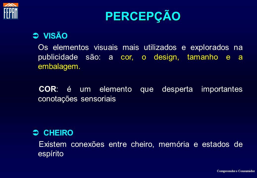 PERCEPÇÃO  VISÃO. Os elementos visuais mais utilizados e explorados na publicidade são: a cor, o design, tamanho e a embalagem.