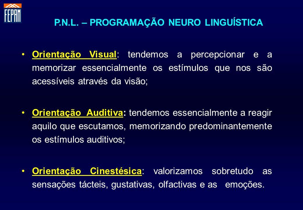 P.N.L. – PROGRAMAÇÃO NEURO LINGUÍSTICA