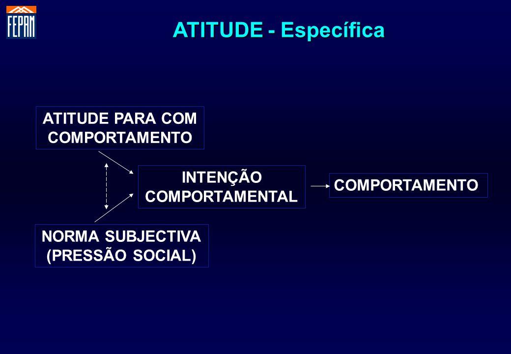 ATITUDE - Específica ATITUDE PARA COM COMPORTAMENTO INTENÇÃO