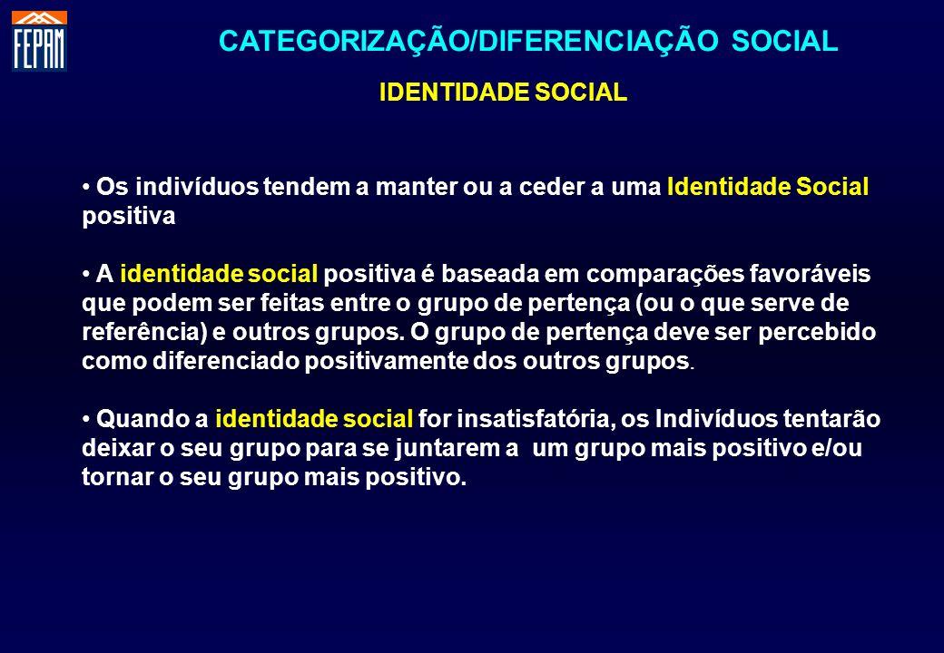 CATEGORIZAÇÃO/DIFERENCIAÇÃO SOCIAL