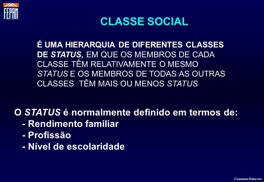 CLASSE SOCIAL O STATUS é normalmente definido em termos de: