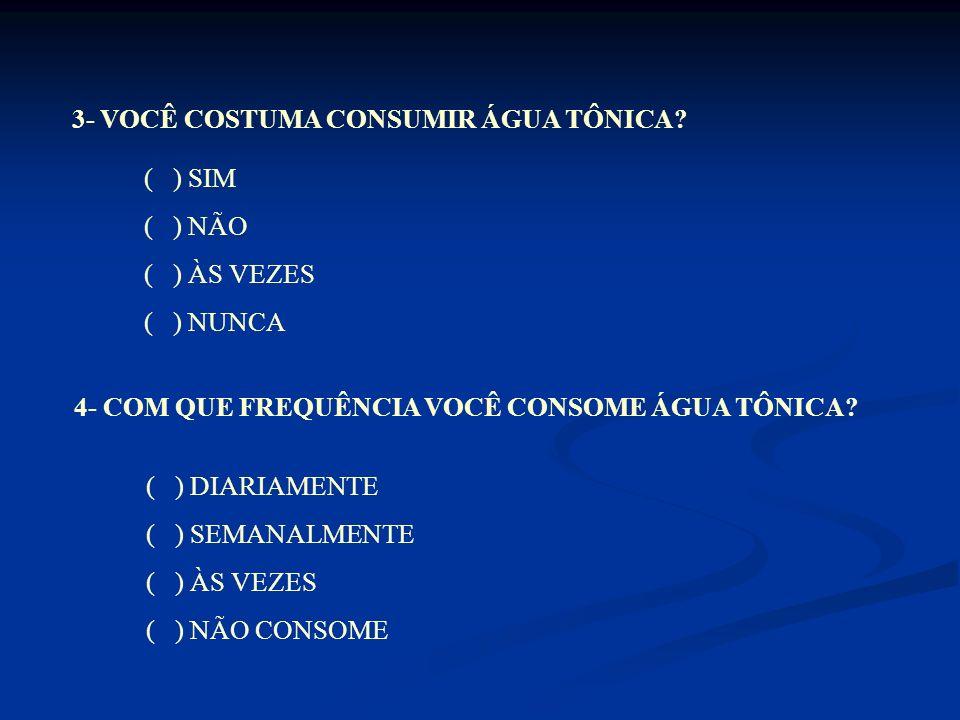 3- VOCÊ COSTUMA CONSUMIR ÁGUA TÔNICA
