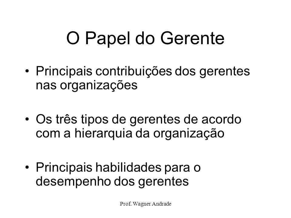 O Papel do Gerente Principais contribuições dos gerentes nas organizações. Os três tipos de gerentes de acordo com a hierarquia da organização.