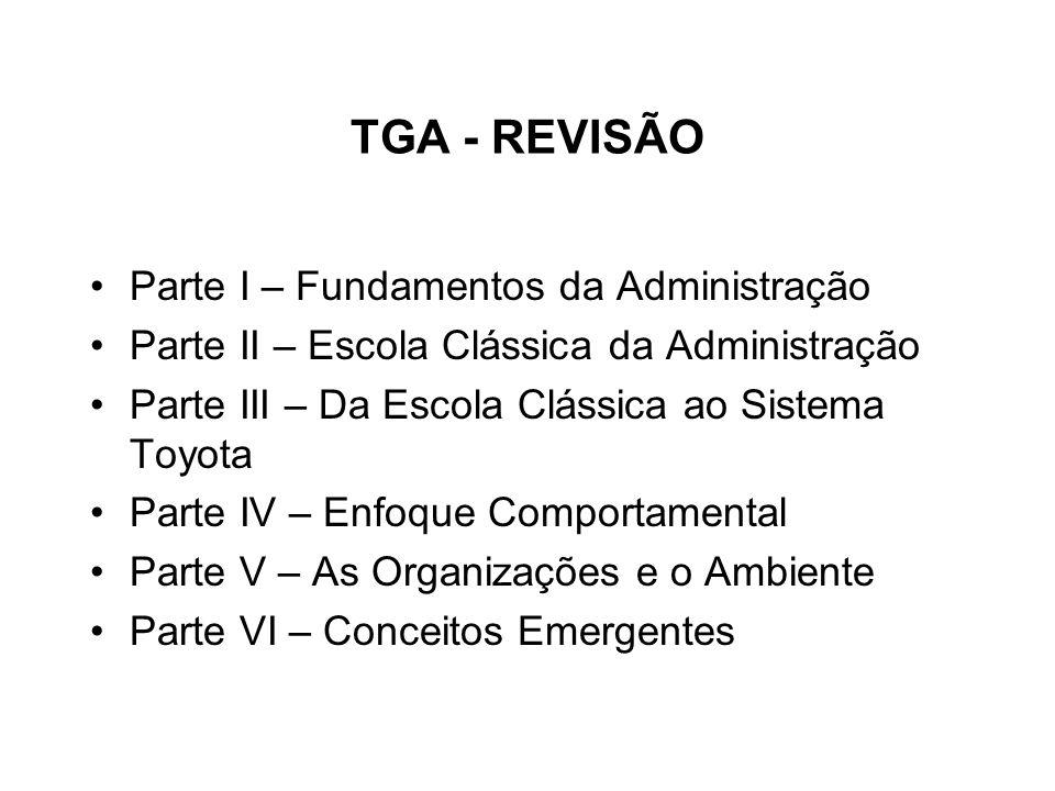 TGA - REVISÃO Parte I – Fundamentos da Administração