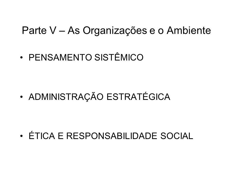 Parte V – As Organizações e o Ambiente