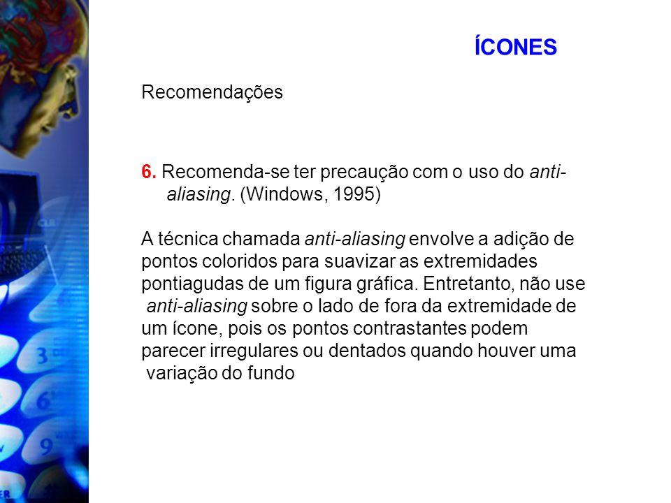 ÍCONESRecomendações. 6. Recomenda-se ter precaução com o uso do anti-aliasing. (Windows, 1995) A técnica chamada anti-aliasing envolve a adição de.