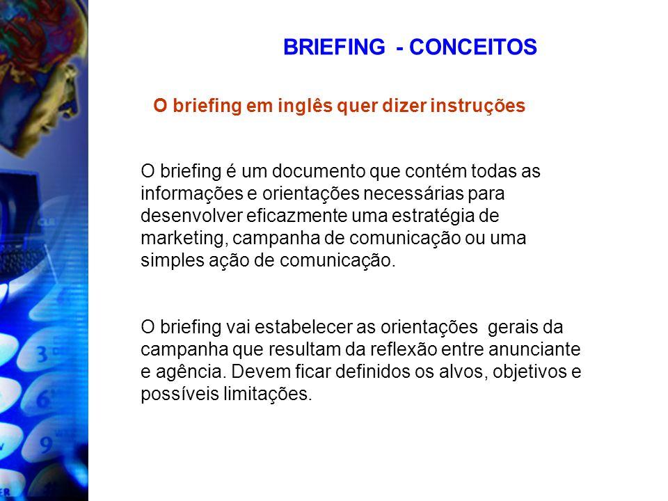 BRIEFING - CONCEITOS O briefing em inglês quer dizer instruções