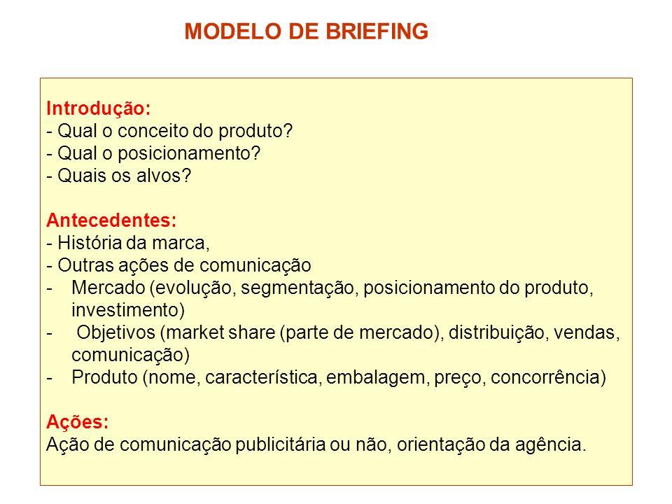 MODELO DE BRIEFING Introdução: - Qual o conceito do produto
