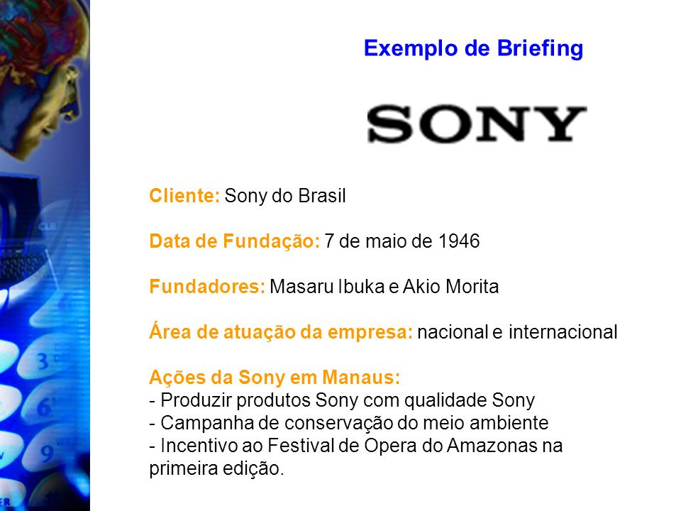 Exemplo de Briefing Cliente: Sony do Brasil