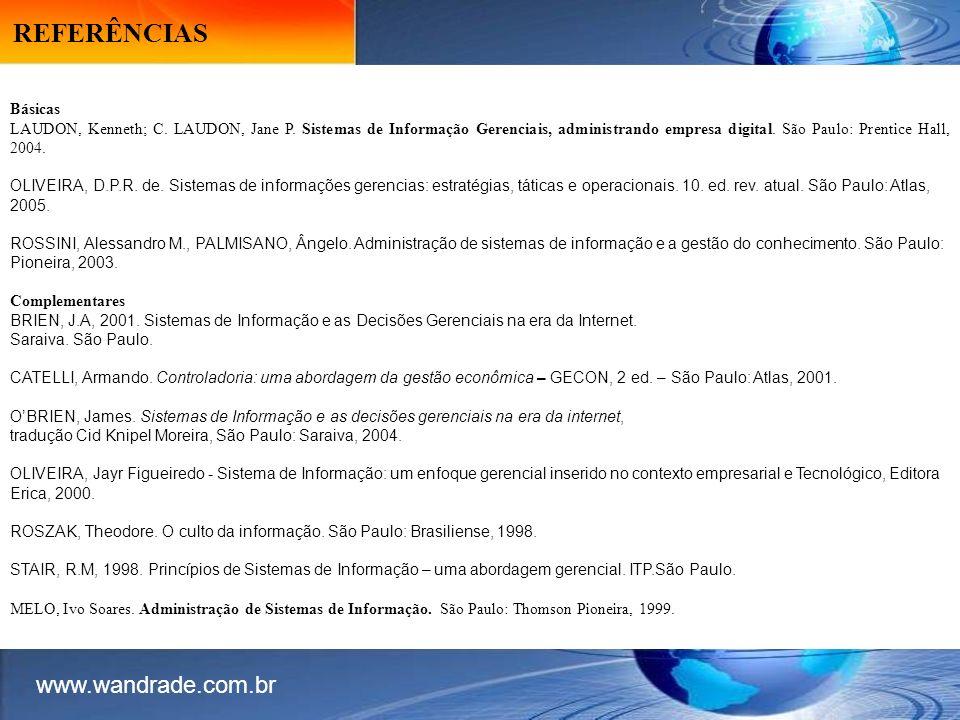 REFERÊNCIAS www.wandrade.com.br Básicas