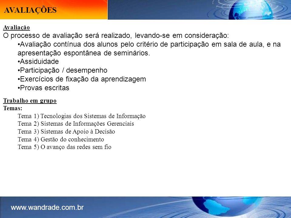 AVALIAÇÕES www.wandrade.com.br. Avaliação. O processo de avaliação será realizado, levando-se em consideração: