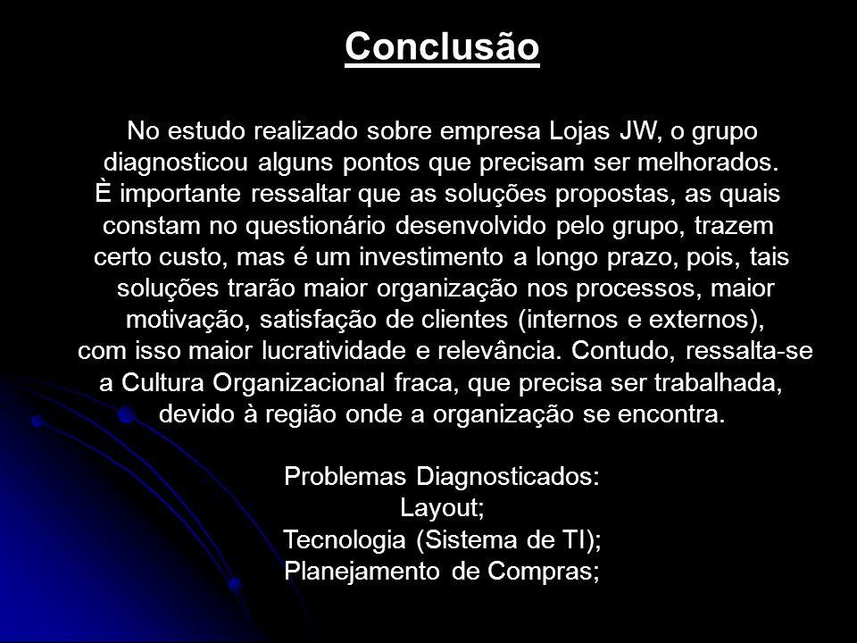 Conclusão No estudo realizado sobre empresa Lojas JW, o grupo