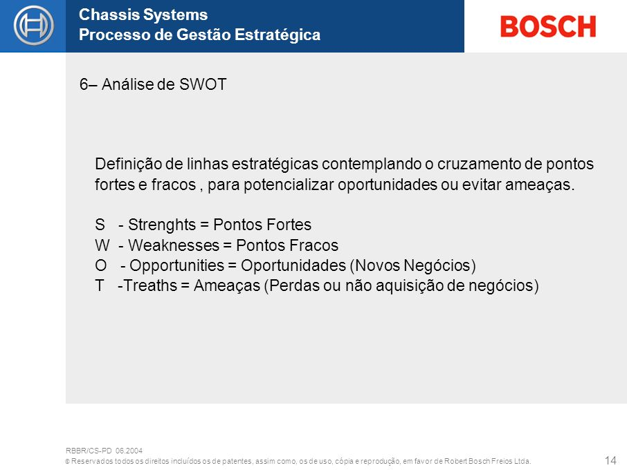 S - Strenghts = Pontos Fortes W - Weaknesses = Pontos Fracos