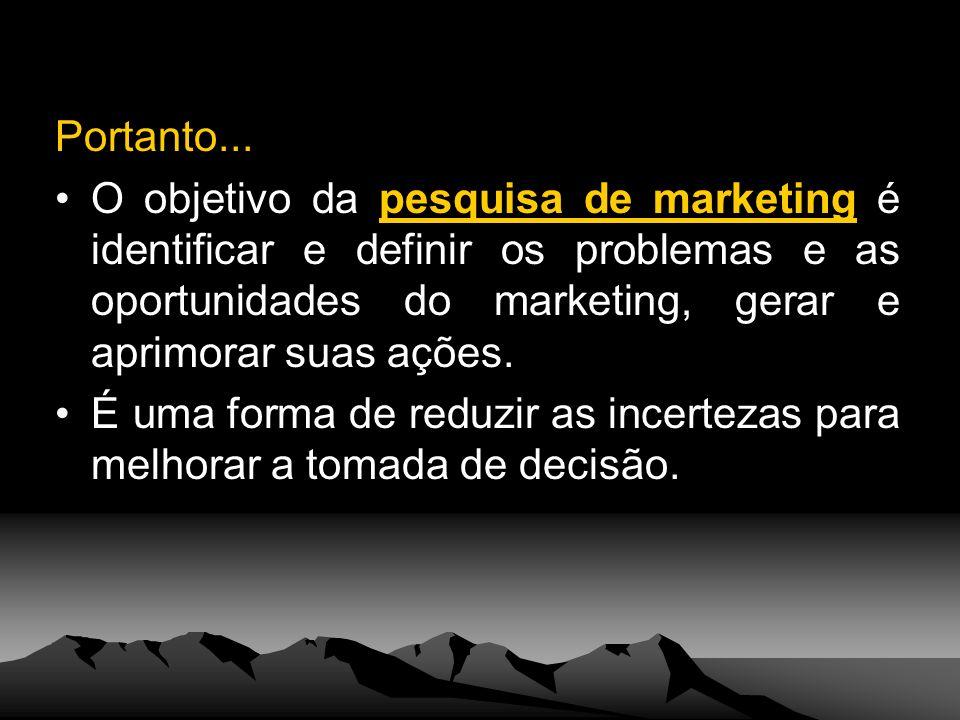 Portanto... O objetivo da pesquisa de marketing é identificar e definir os problemas e as oportunidades do marketing, gerar e aprimorar suas ações.