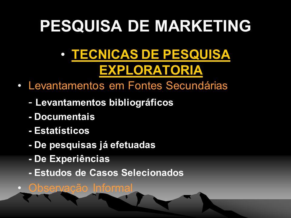 TECNICAS DE PESQUISA EXPLORATORIA