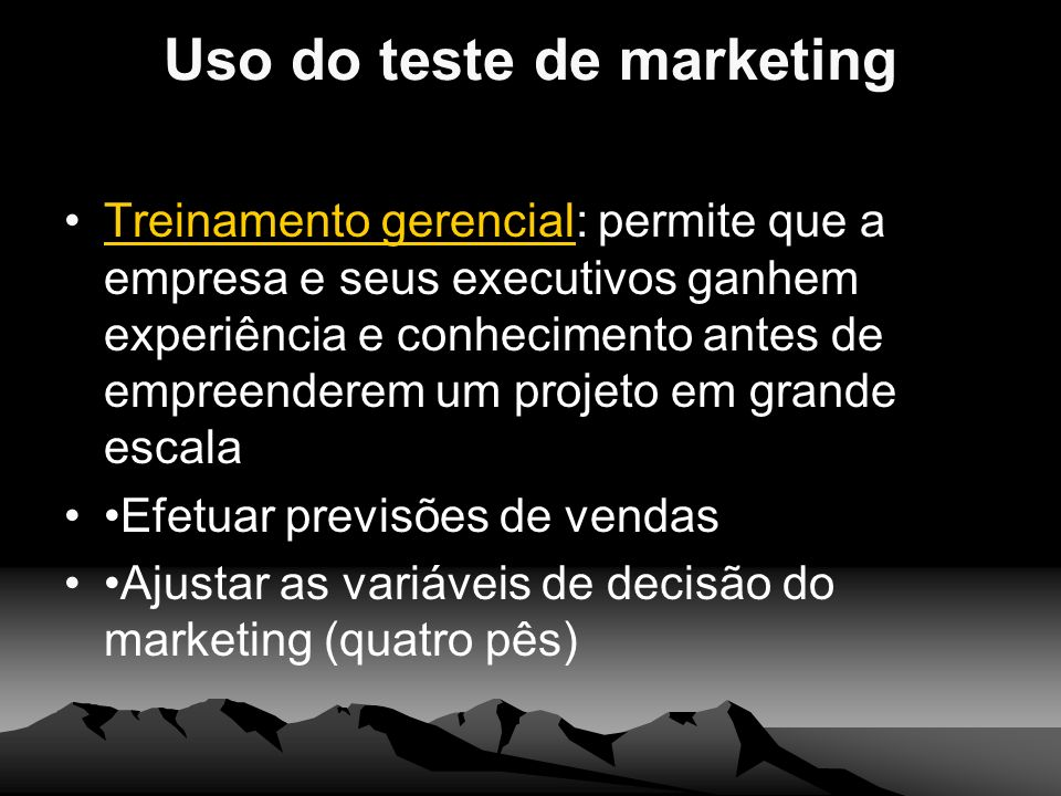 Uso do teste de marketing