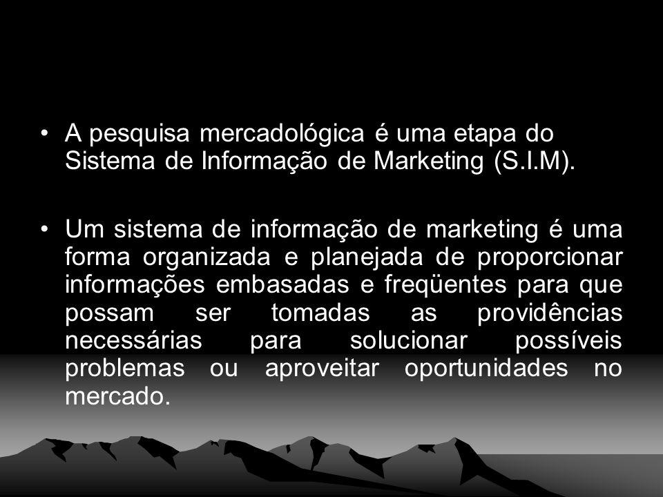 A pesquisa mercadológica é uma etapa do Sistema de Informação de Marketing (S.I.M).