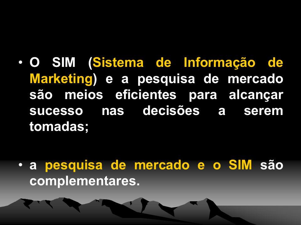 O SIM (Sistema de Informação de Marketing) e a pesquisa de mercado são meios eficientes para alcançar sucesso nas decisões a serem tomadas;