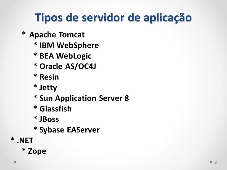 Tipos de servidor de aplicação