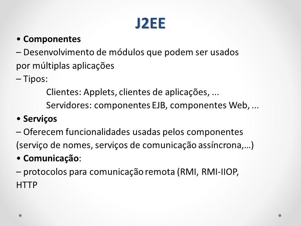 J2EE • Componentes – Desenvolvimento de módulos que podem ser usados