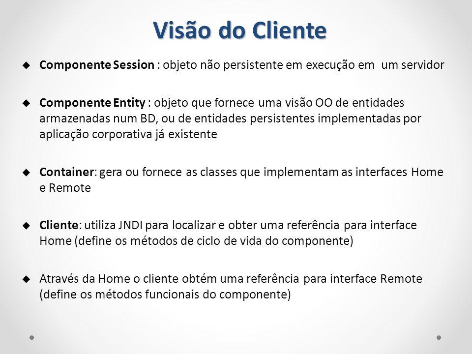 Visão do Cliente Componente Session : objeto não persistente em execução em um servidor.