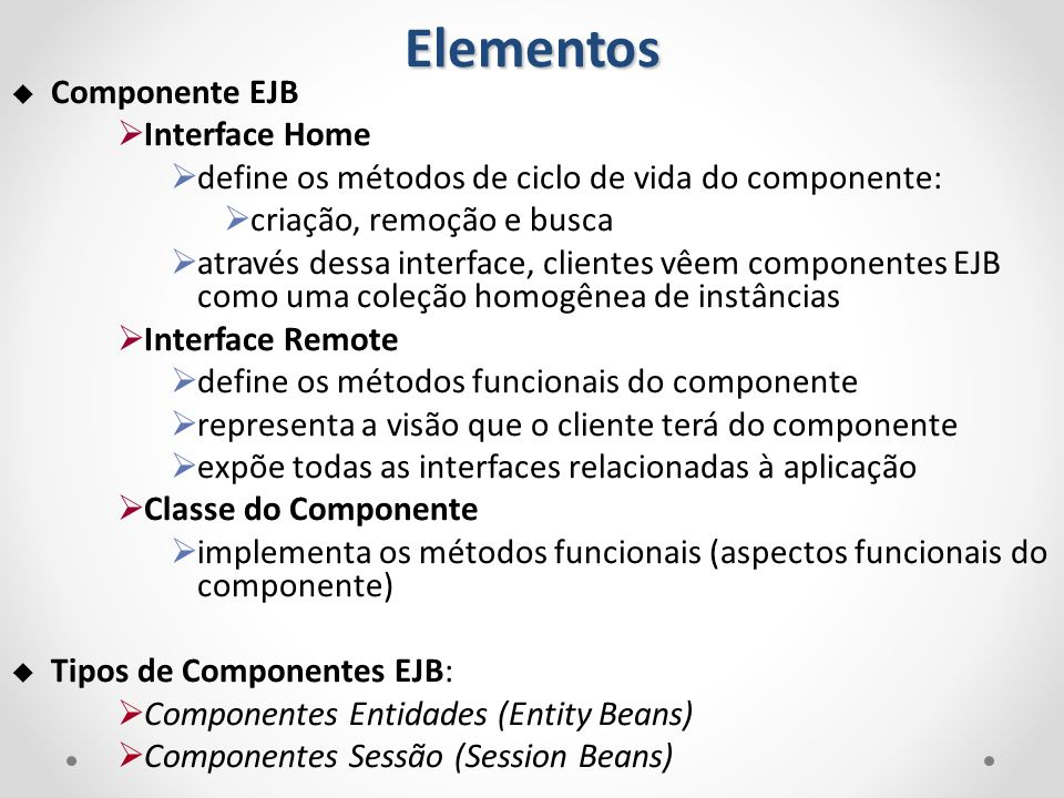 Elementos Componente EJB Interface Home