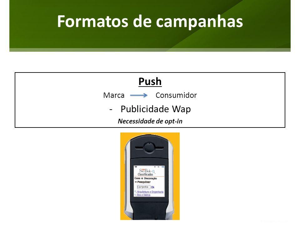 Formatos de campanhas Push Publicidade Wap Marca Consumidor