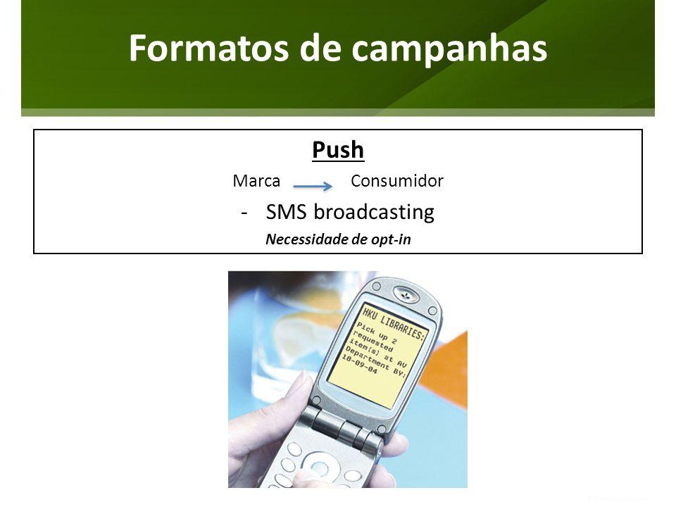 Formatos de campanhas Push SMS broadcasting Marca Consumidor