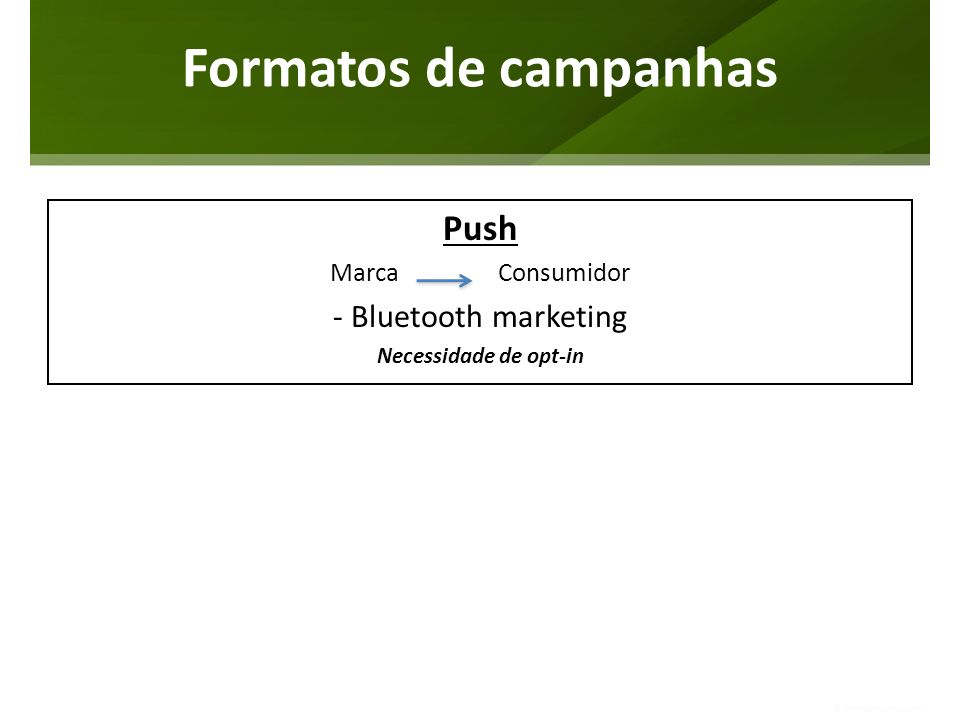 Formatos de campanhas Push - Bluetooth marketing Marca Consumidor