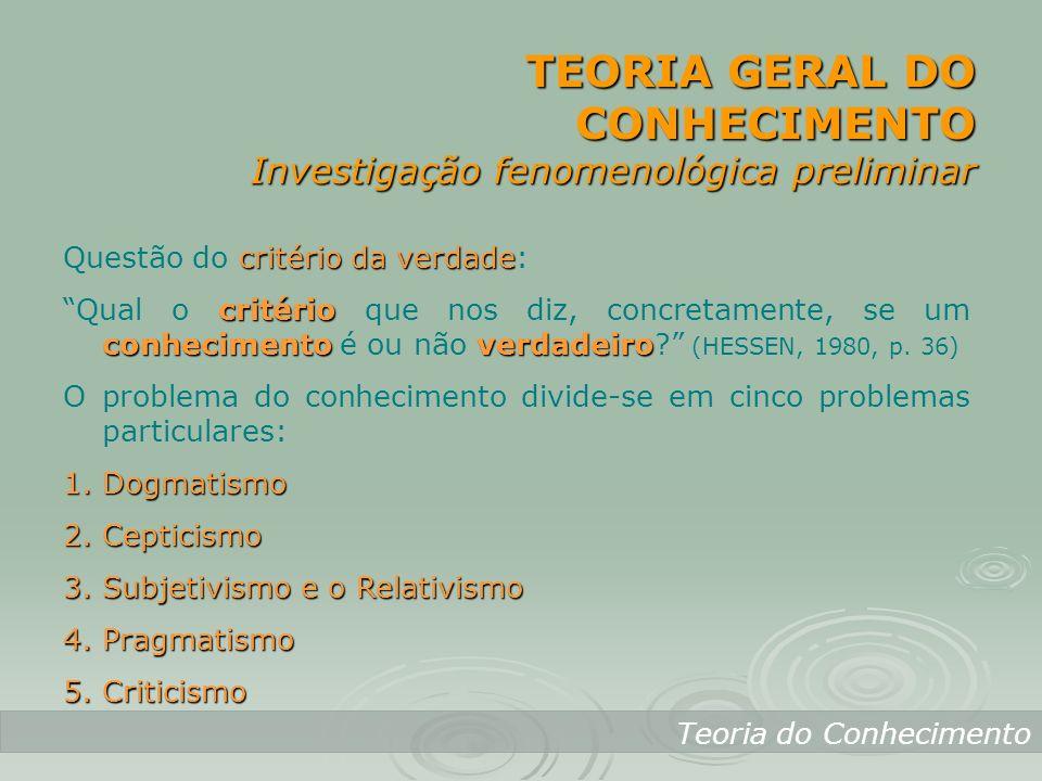 TEORIA GERAL DO CONHECIMENTO Investigação fenomenológica preliminar