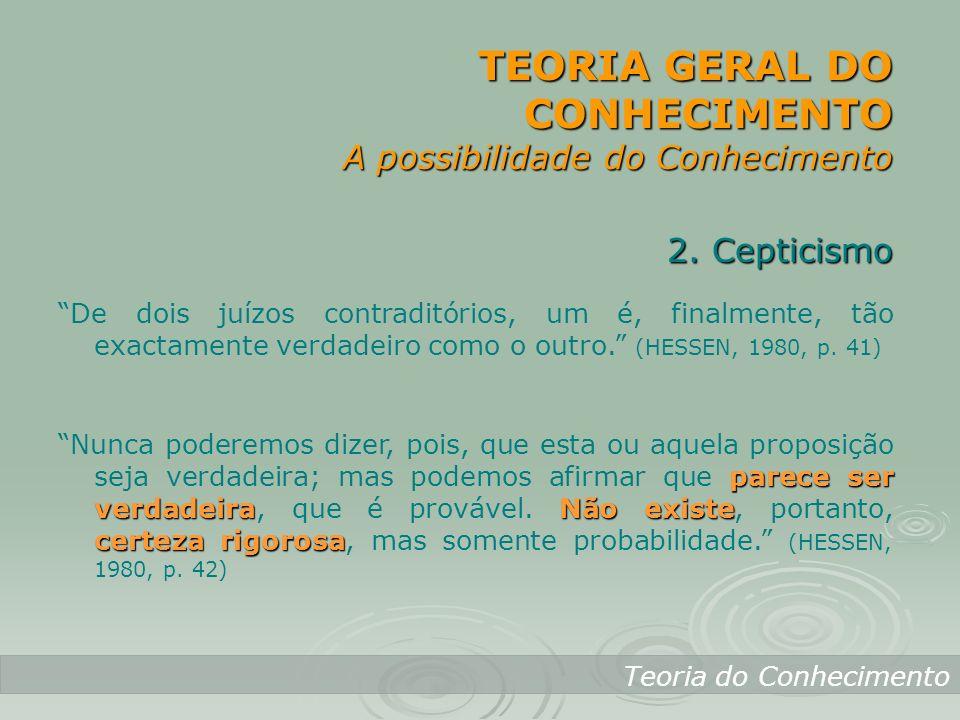 TEORIA GERAL DO CONHECIMENTO A possibilidade do Conhecimento
