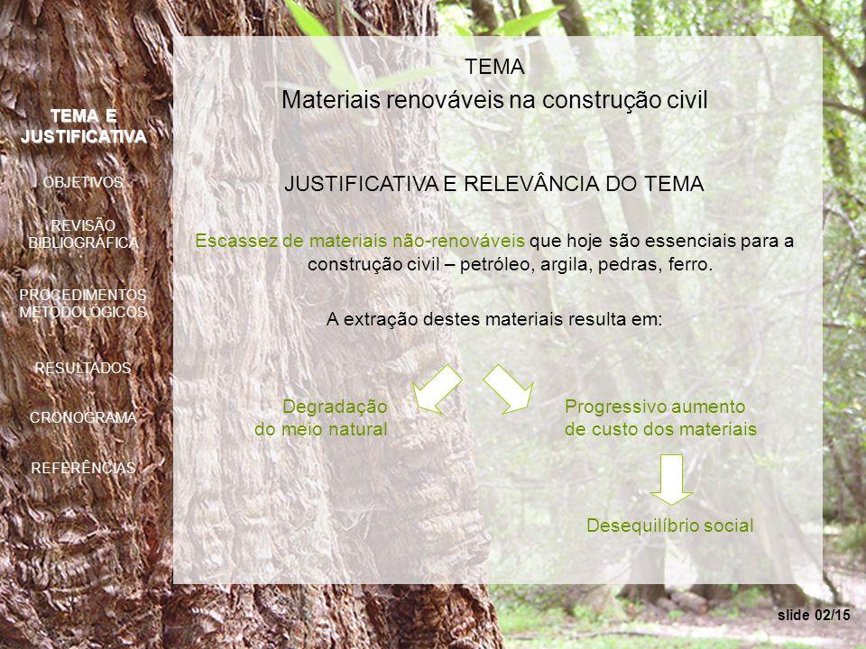 TEMA Materiais renováveis na construção civil