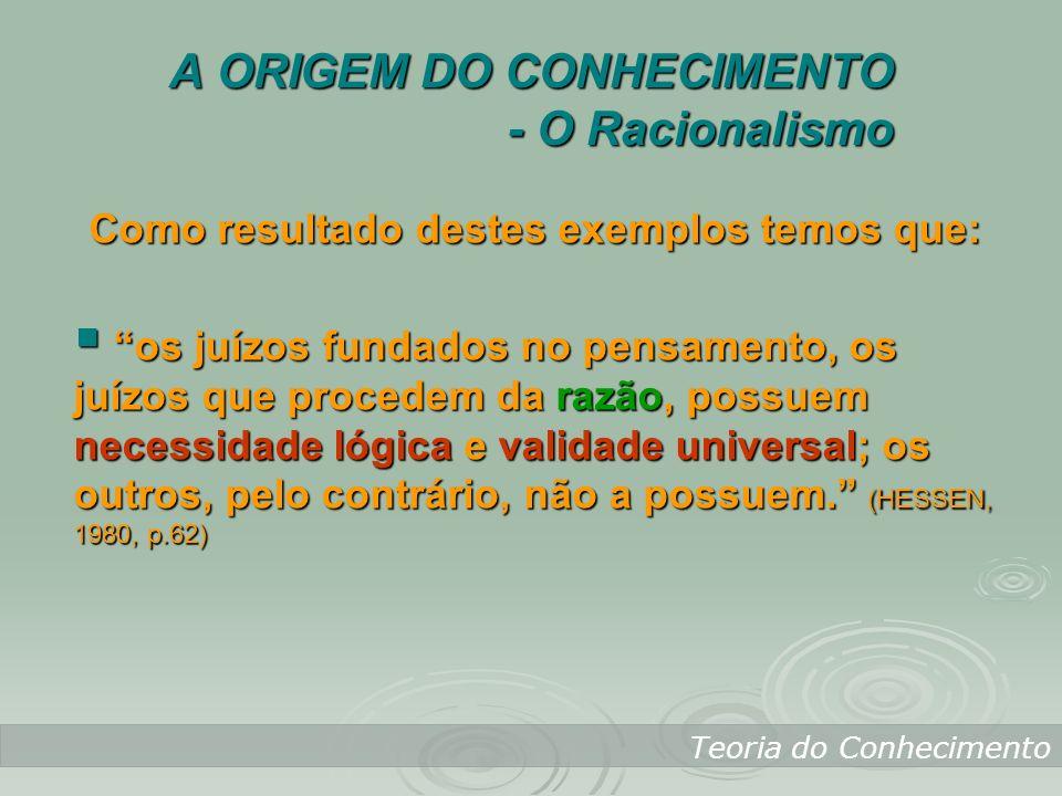A ORIGEM DO CONHECIMENTO - O Racionalismo