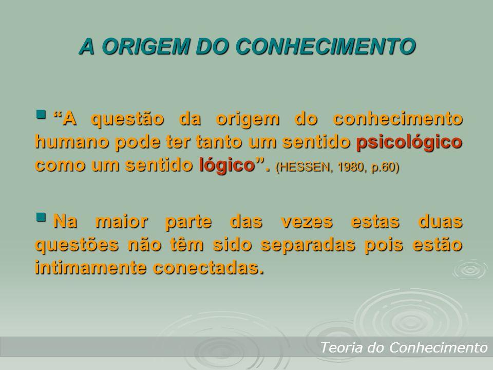 A ORIGEM DO CONHECIMENTO