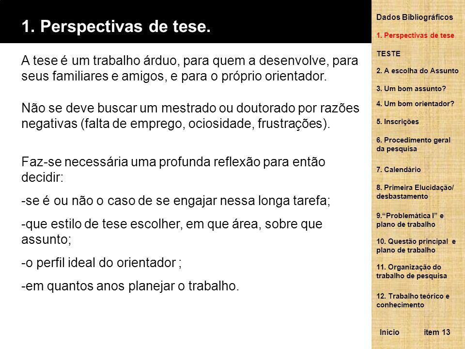Dados Bibliográficos1. Perspectivas de tese. 1. Perspectivas de tese.