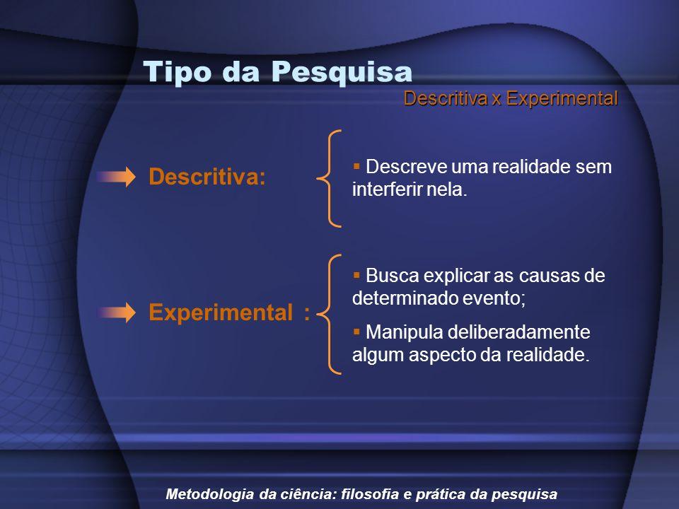 Tipo da Pesquisa Descritiva: Experimental : Descritiva x Experimental