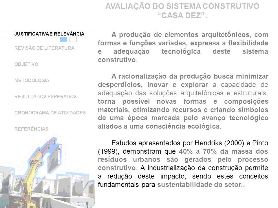 AVALIAÇÃO DO SISTEMA CONSTRUTIVO CASA DEZ .