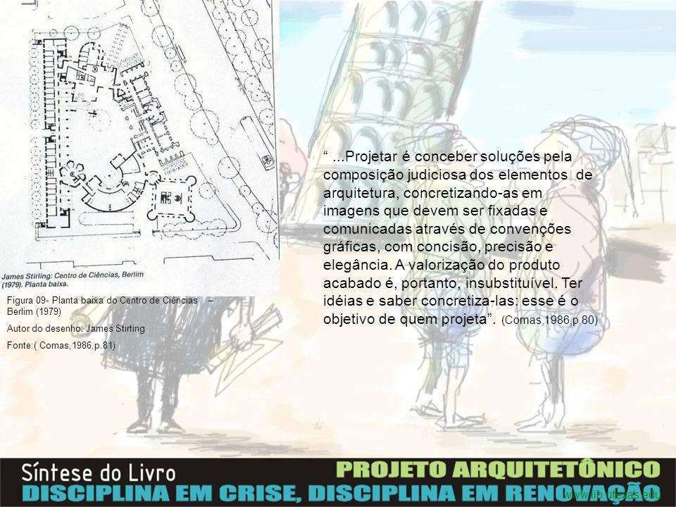 ...Projetar é conceber soluções pela composição judiciosa dos elementos de arquitetura, concretizando-as em imagens que devem ser fixadas e comunicadas através de convenções gráficas, com concisão, precisão e elegância. A valorização do produto acabado é, portanto, insubstituível. Ter idéias e saber concretiza-las: esse é o objetivo de quem projeta . (Comas,1986,p.80)