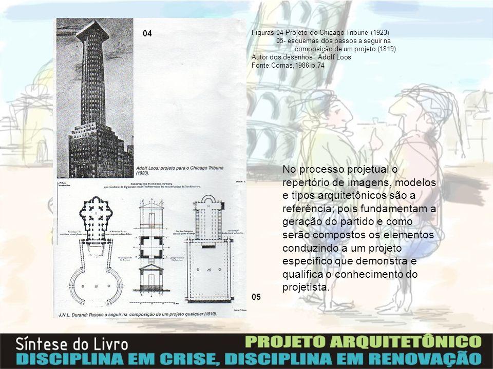 04Figuras 04-Projeto do Chicago Tribune (1923) 05- esquemas dos passos a seguir na. composição de um projeto (1819)
