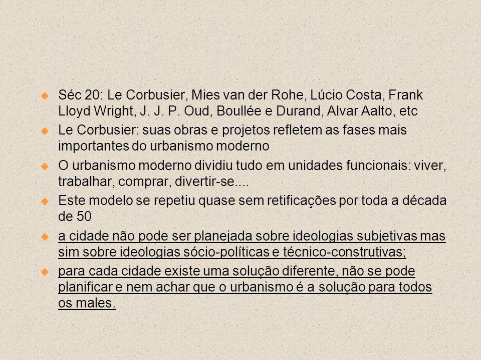 Séc 20: Le Corbusier, Mies van der Rohe, Lúcio Costa, Frank Lloyd Wright, J. J. P. Oud, Boullée e Durand, Alvar Aalto, etc